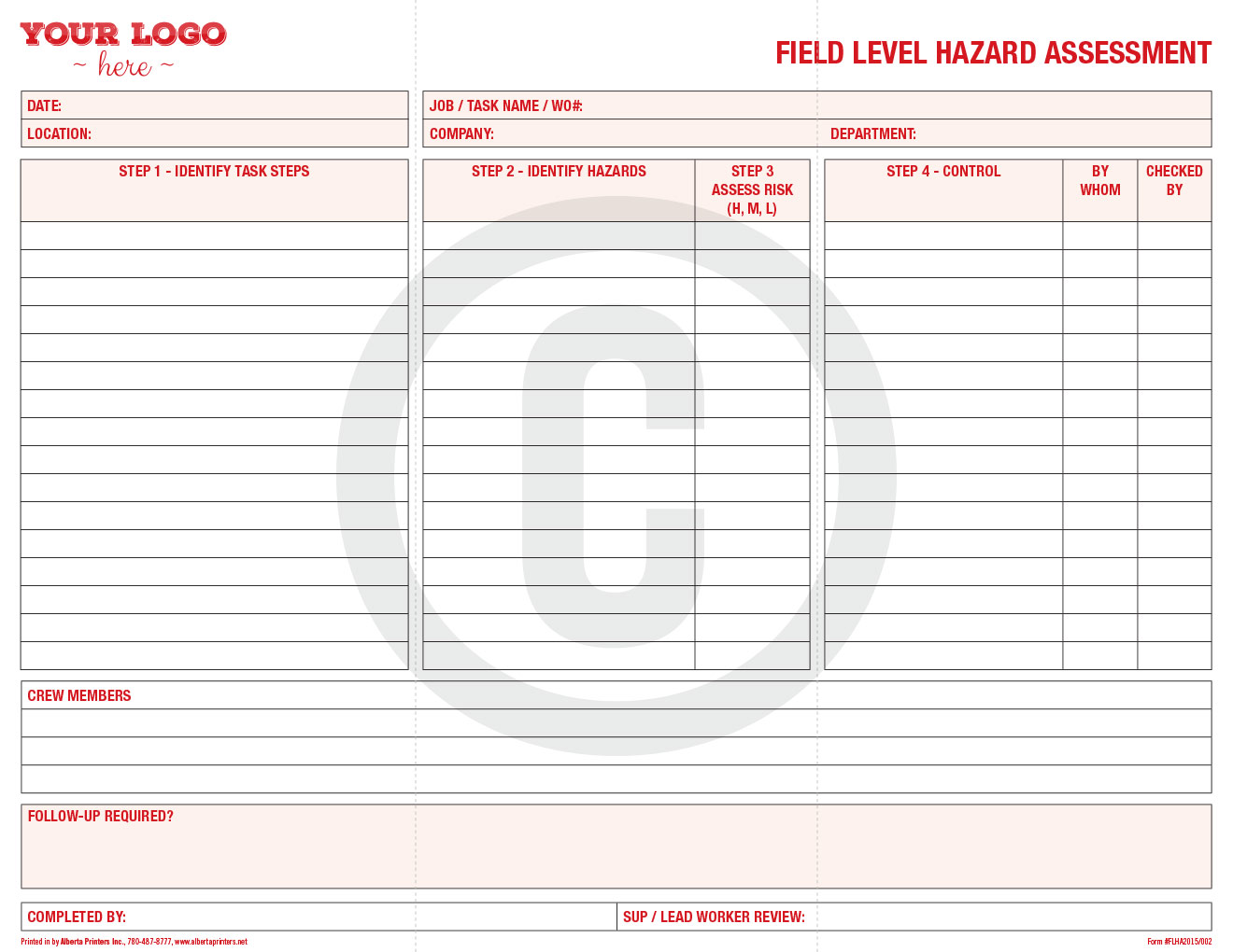 Field Level Risk Assessment, 11u00d78.5 in, double sided, #FLHA20015-002