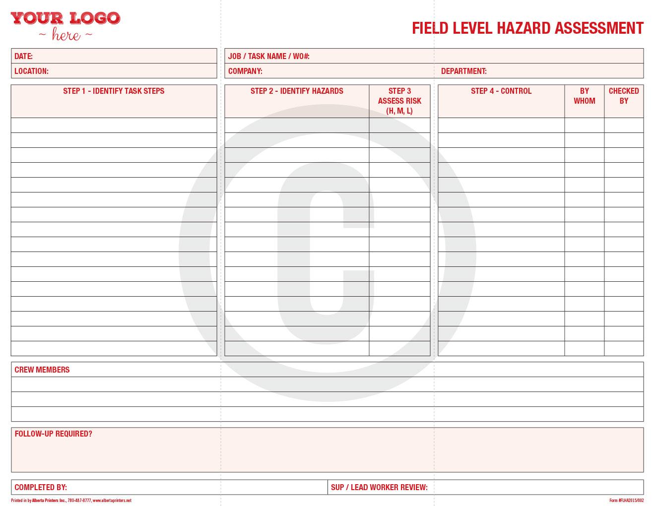 Forms Printing and Designing Alberta Printers Inc – Hazard Assessment Template