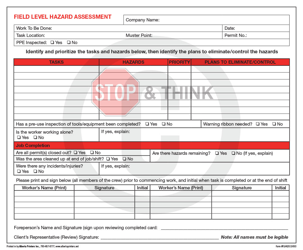 Forms printing and designing alberta printers inc for Workplace hazard assessment template