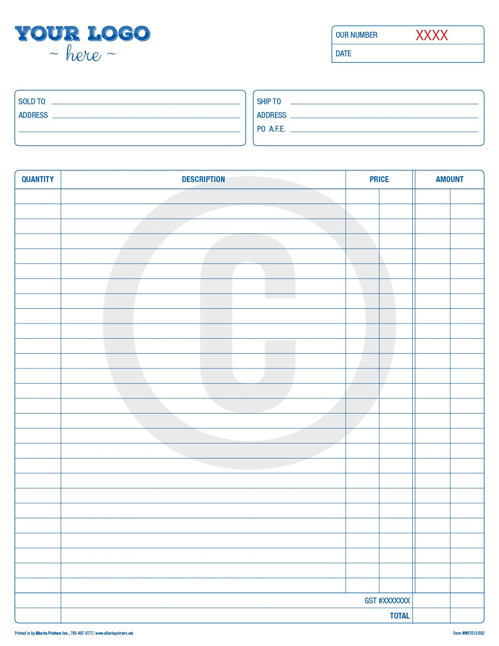 forms printing and designing - alberta printers inc., Invoice examples