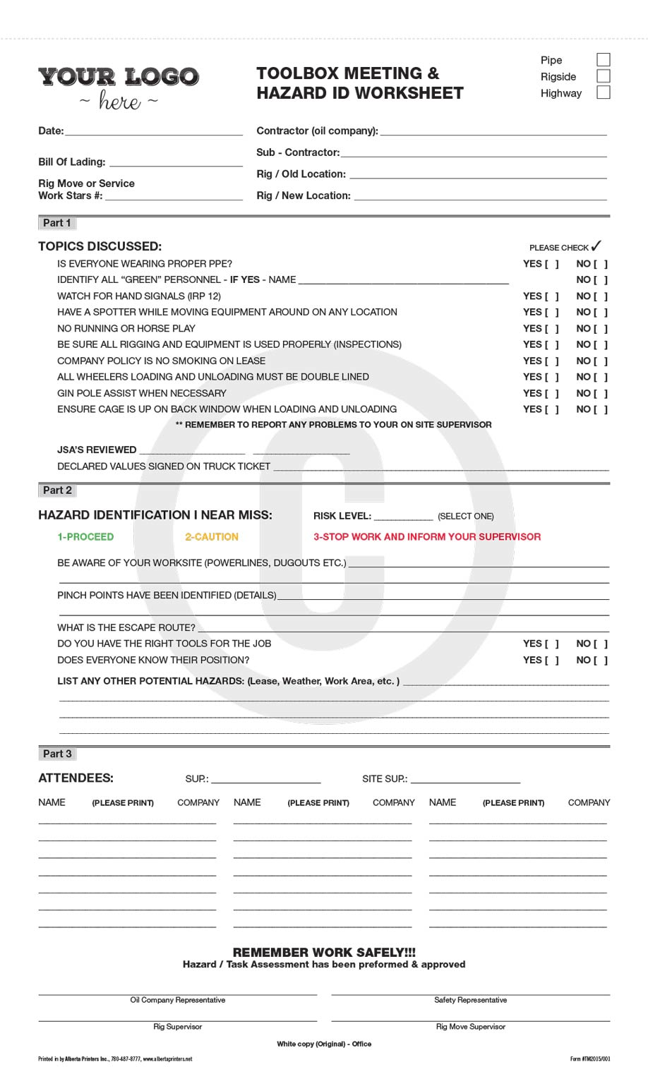 weekly safety meeting forms pdf