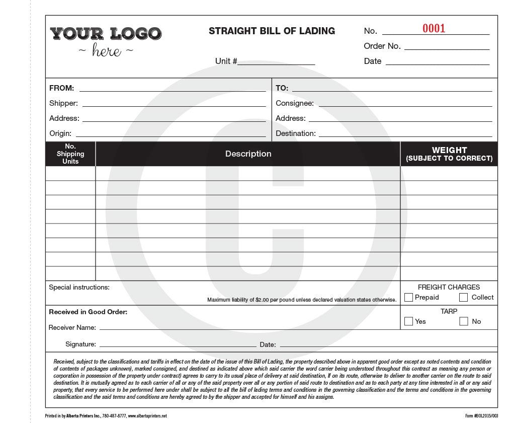 Forms printing and designing alberta printers inc bill of lading sample pronofoot35fo Choice Image