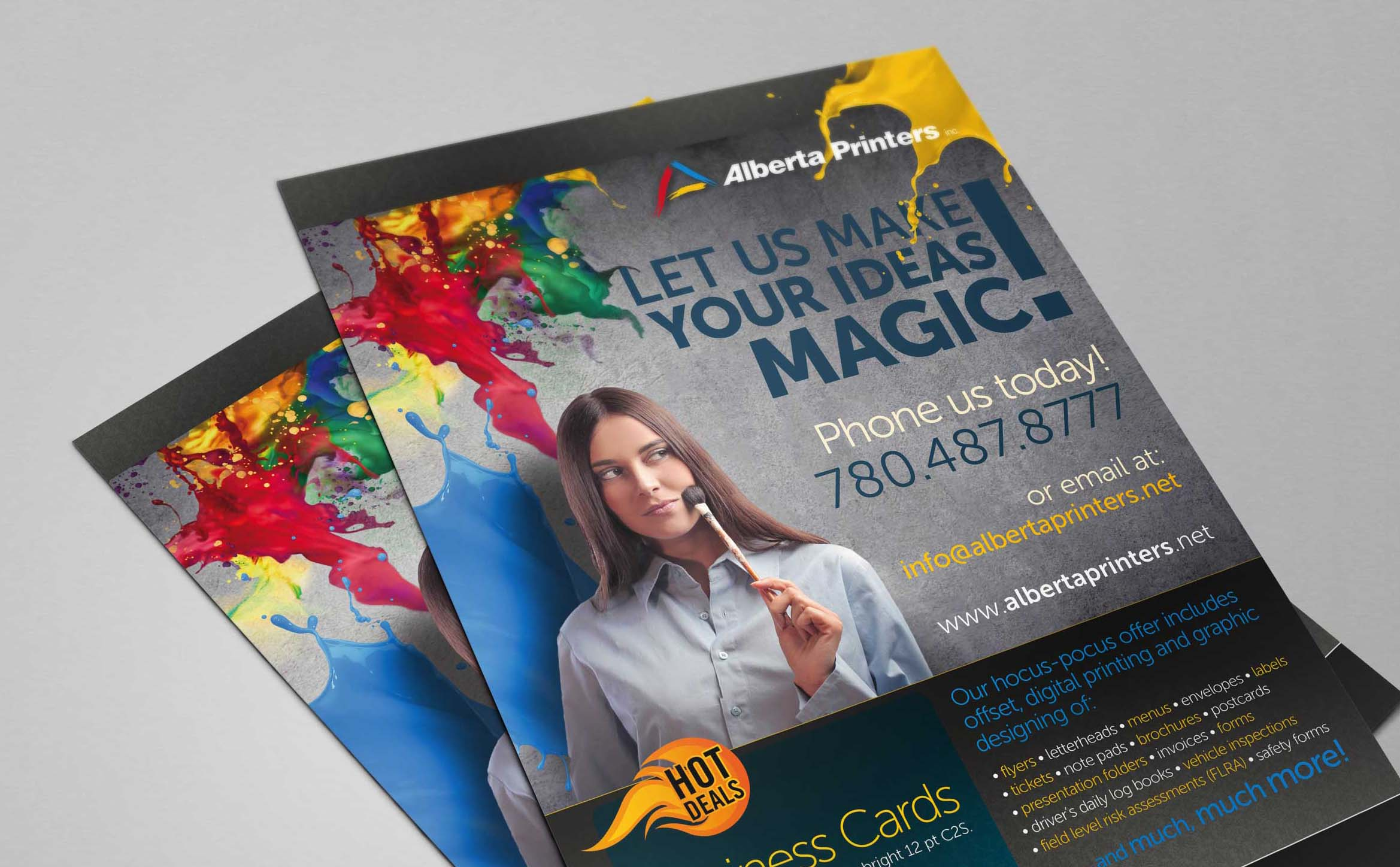 Two flyers printing samples at Alberta Printers