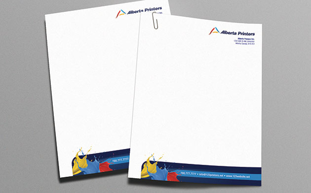 Couple of Letterhead printing with Alberta Printers brand identity