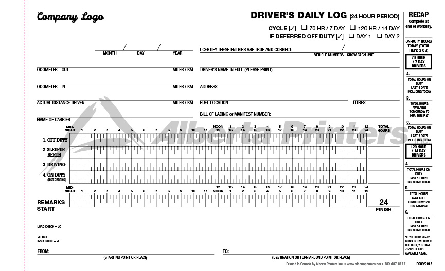 Log Books, Vehicle Inspections - Alberta Printers, Edmonton