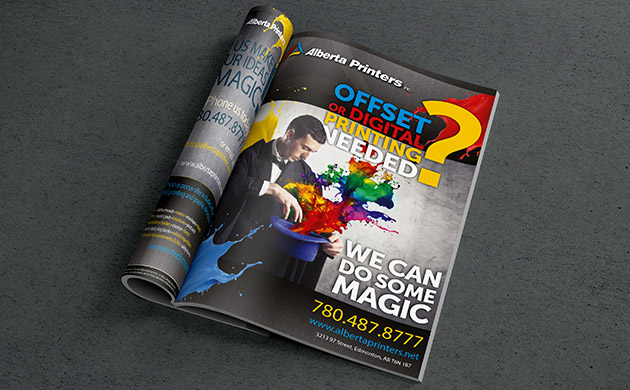 Inside page with Alberta Printers ad for magazine printing