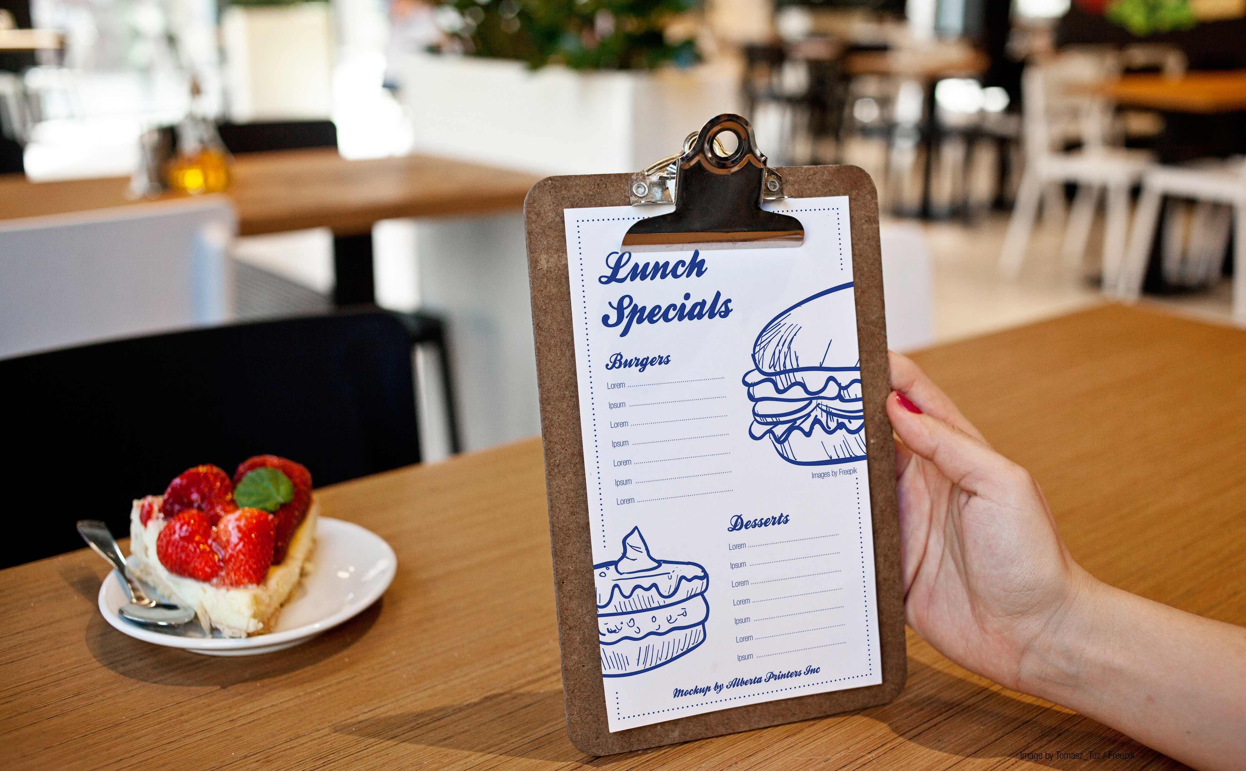 restaurant menu printing sample
