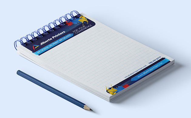 Notepad with Alberta Printers logo on it - notepads printing